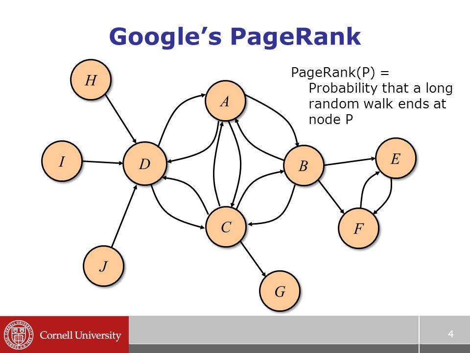 Google's PageRank 4 A A B B C C D D E E F F H H I I J J G G PageRank(P) = Probability that a long random walk ends at node P
