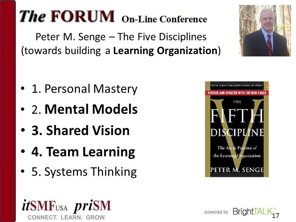 Peter M. Senge – The Five Disciplines (towards building a Learning Organization) 1.