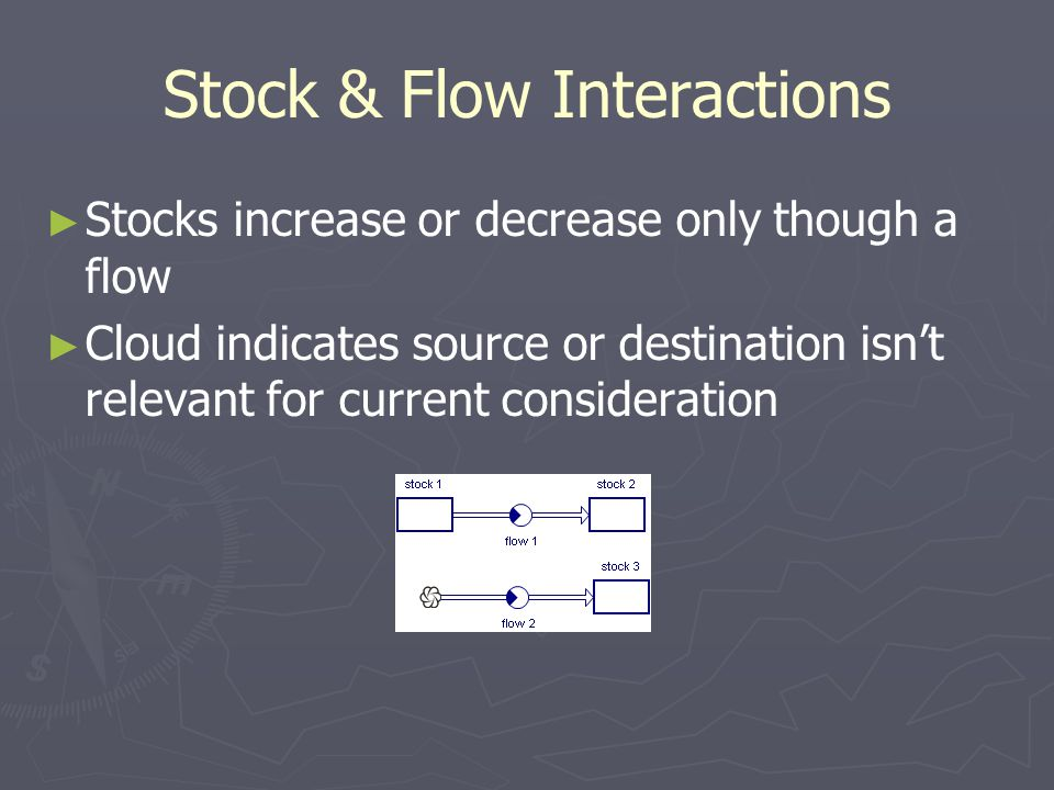 Stock & Flow Interactions ► ► Stocks increase or decrease only though a flow ► ► Cloud indicates source or destination isn't relevant for current cons