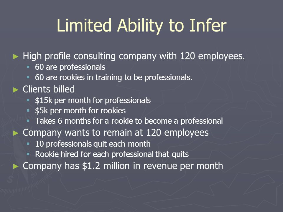 Limited Ability to Infer ► ► High profile consulting company with 120 employees.