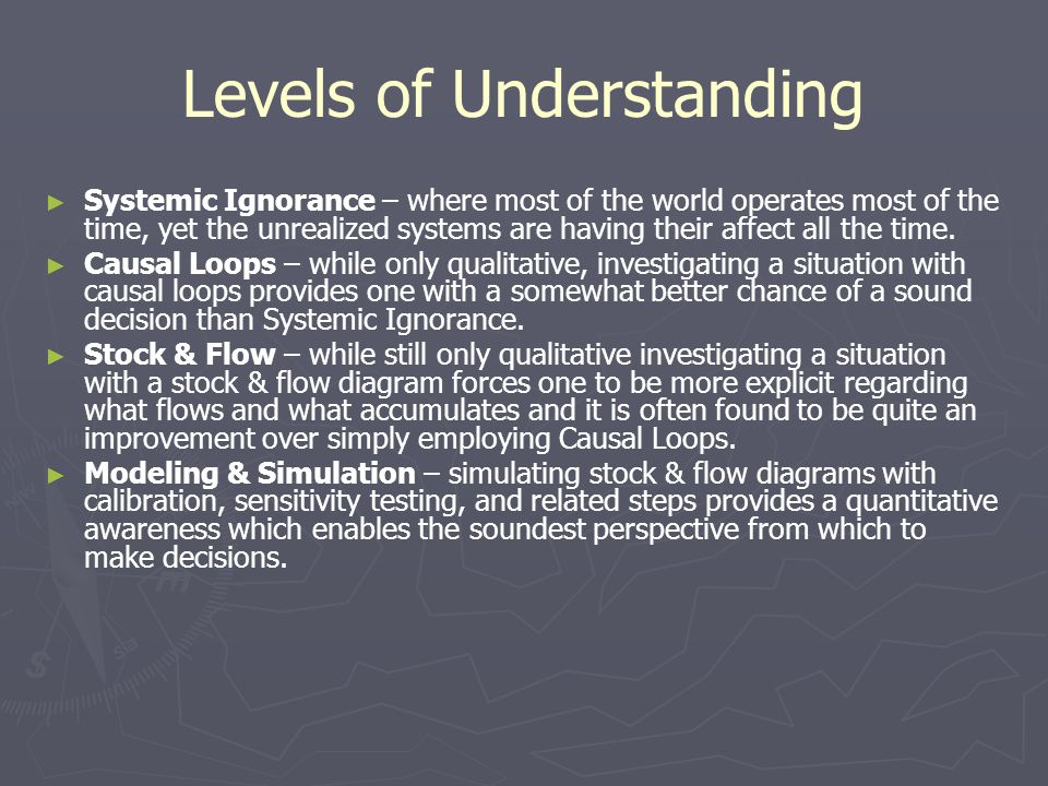Levels of Understanding ► ► Systemic Ignorance – where most of the world operates most of the time, yet the unrealized systems are having their affect all the time.