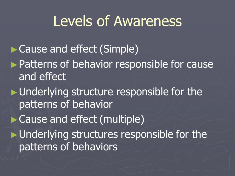 Levels of Awareness ► ► Cause and effect (Simple) ► ► Patterns of behavior responsible for cause and effect ► ► Underlying structure responsible for the patterns of behavior ► ► Cause and effect (multiple) ► ► Underlying structures responsible for the patterns of behaviors