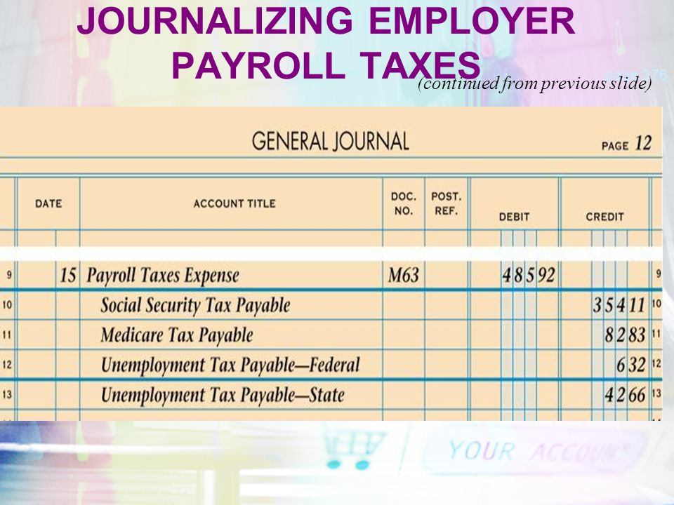 JOURNALIZING EMPLOYER PAYROLL TAXES page 376 (continued from previous slide)