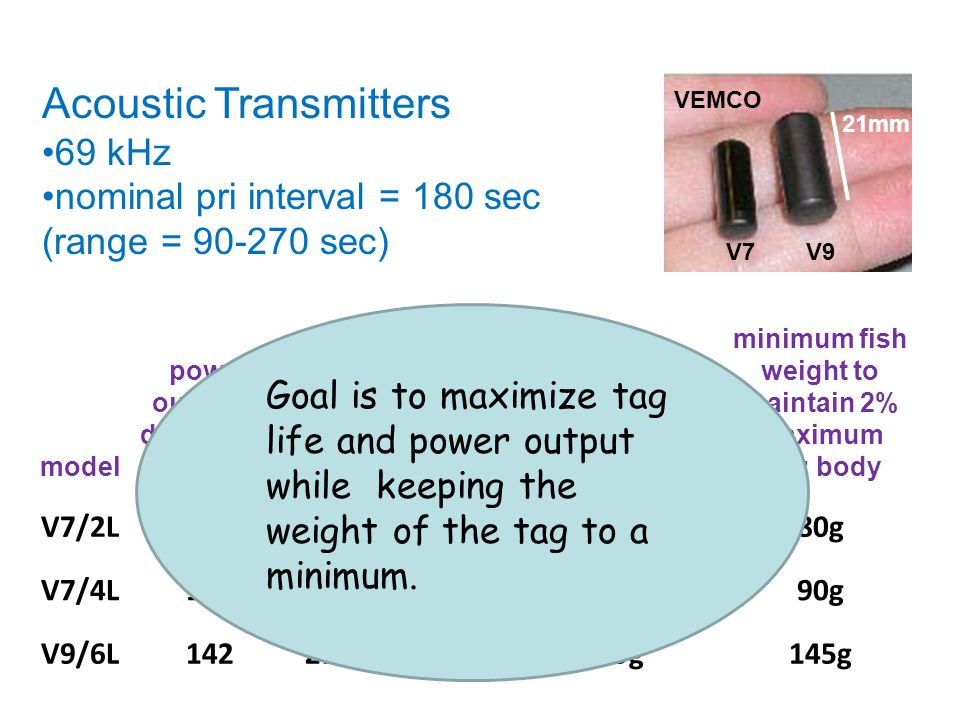 Acoustic Transmitters 69 kHz nominal pri interval = 180 sec (range = 90-270 sec) 21mm V9V7 VEMCO model power output in dB re 1µPa @1mtag lifediameterw
