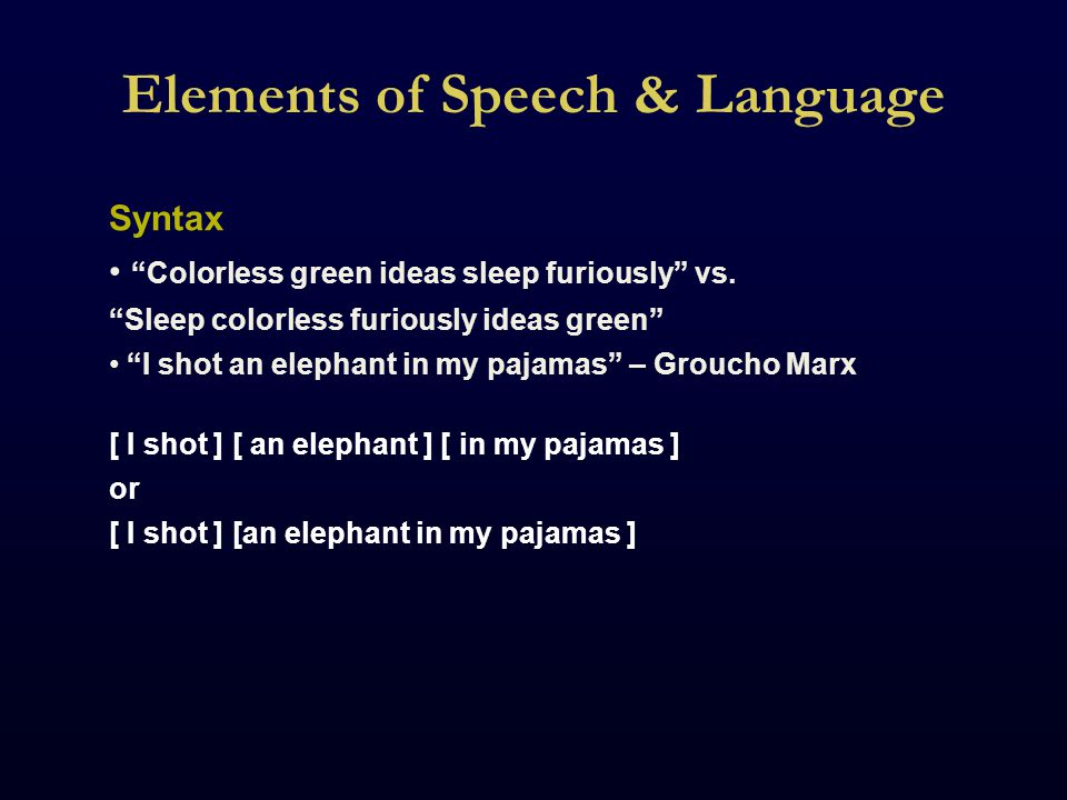 Elements of Speech & Language Syntax Colorless green ideas sleep furiously vs.