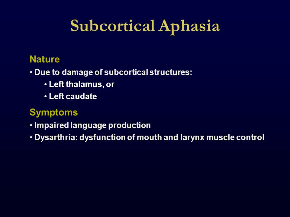 Subcortical Aphasia Nature Due to damage of subcortical structures: Left thalamus, or Left caudate Symptoms Impaired language production Dysarthria: dysfunction of mouth and larynx muscle control