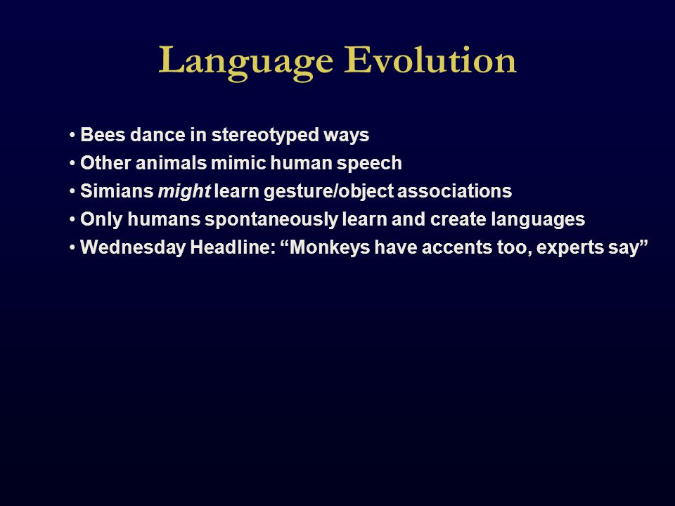 Language Studies No animal models are possible.If only humans have language, how do we study it.