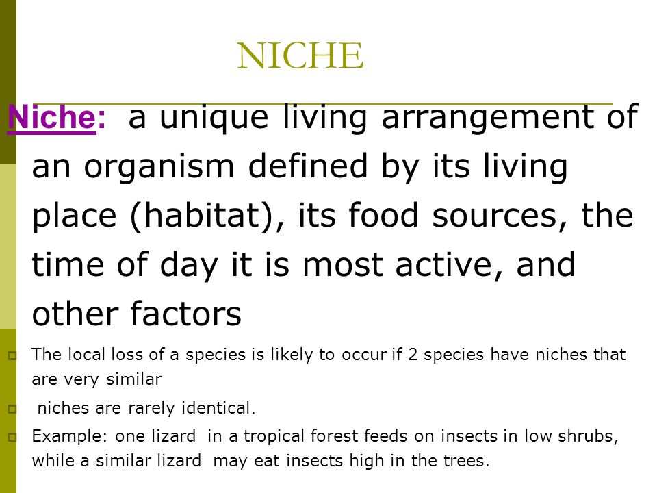 NICHE Niche: a unique living arrangement of an organism defined by its living place (habitat), its food sources, the time of day it is most active, an