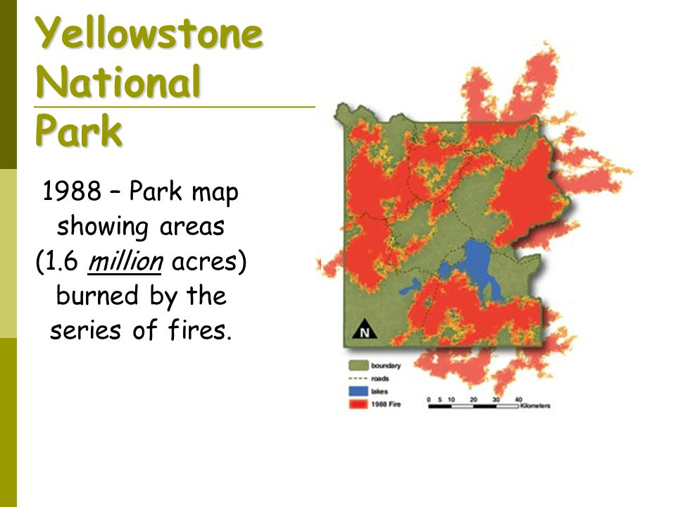 Yellowstone National Park 1988 – Park map showing areas (1.6 million acres) burned by the series of fires.