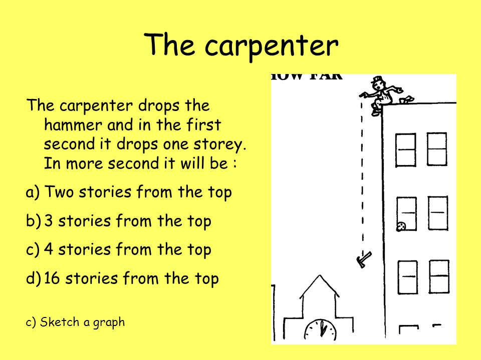 The carpenter The carpenter drops the hammer and in the first second it drops one storey. In more second it will be : a)Two stories from the top b)3 s