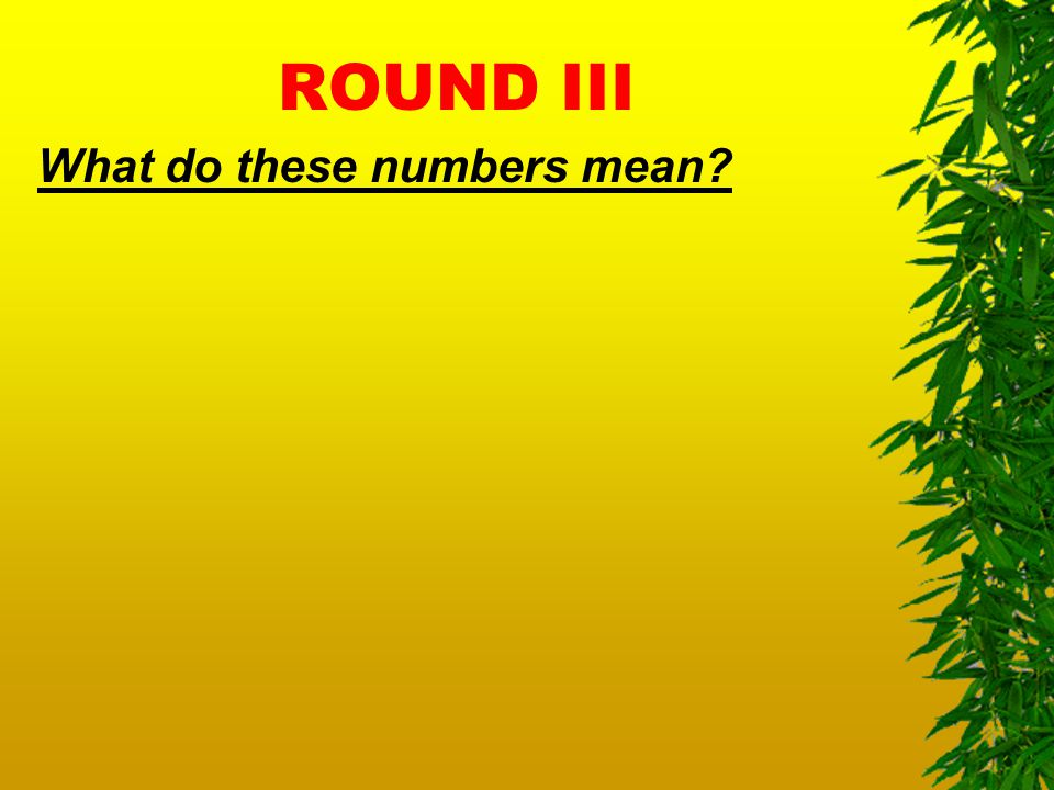 ROUND III What do these numbers mean?