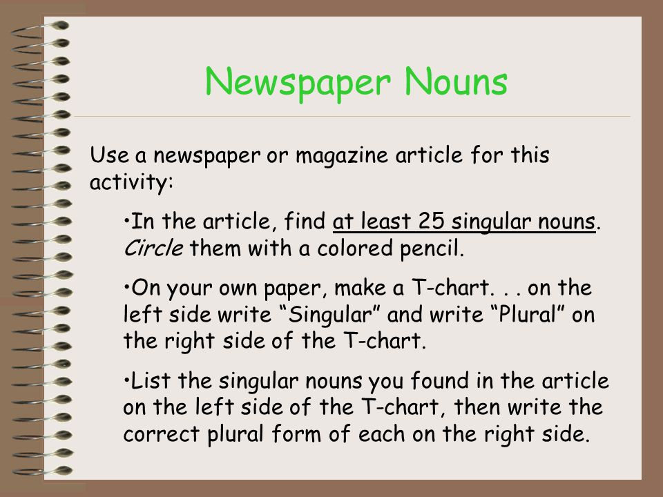 Newspaper Nouns Use a newspaper or magazine article for this activity: In the article, find at least 25 singular nouns. Circle them with a colored pen