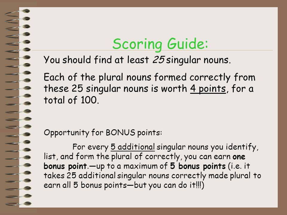Scoring Guide: You should find at least 25 singular nouns. Each of the plural nouns formed correctly from these 25 singular nouns is worth 4 points, f