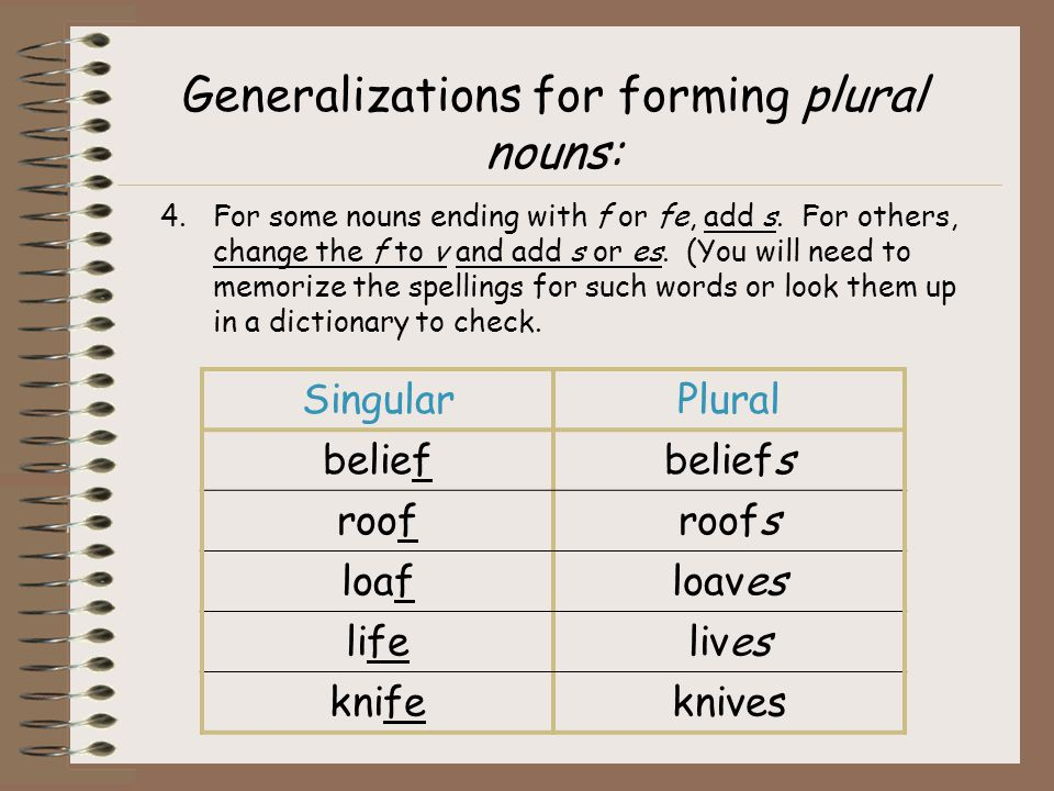 Generalizations for forming plural nouns: 4.For some nouns ending with f or fe, add s. For others, change the f to v and add s or es. (You will need t