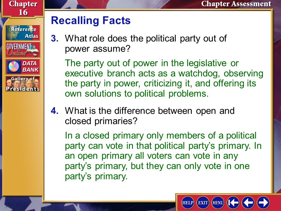 Chapter Assessment 5 5.Identify the three types of third parties and identify a party of each type.
