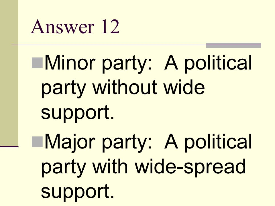 Question 12 Define the term minor party. Based on your definition of minor party, what do you think a major party is?
