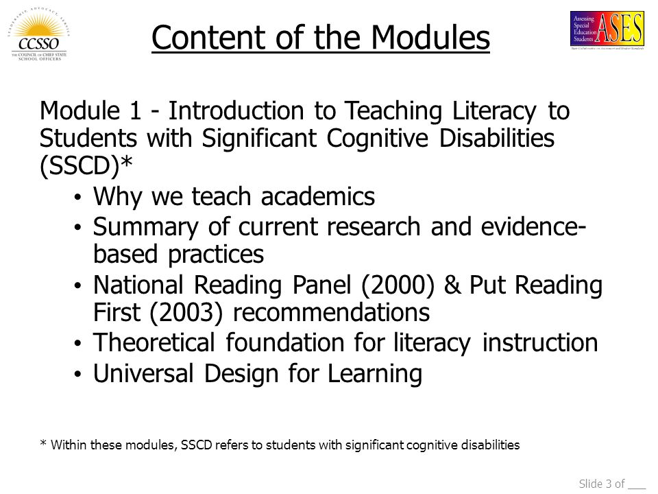 Slide 14 of ___ Ten Steps of the Story-Based Lesson Elementary Level 1) Anticipatory set 2) Read the title 3) Read the author 4) Prediction 5) Open book 6) Text pointing 7) Identify vocabulary 8) Repeated story line 9) Turn the page 10) Comprehension question/review prediction Browder, Gibbs, Ahlgrim-Delzell, Courtade, & Lee, 2007.