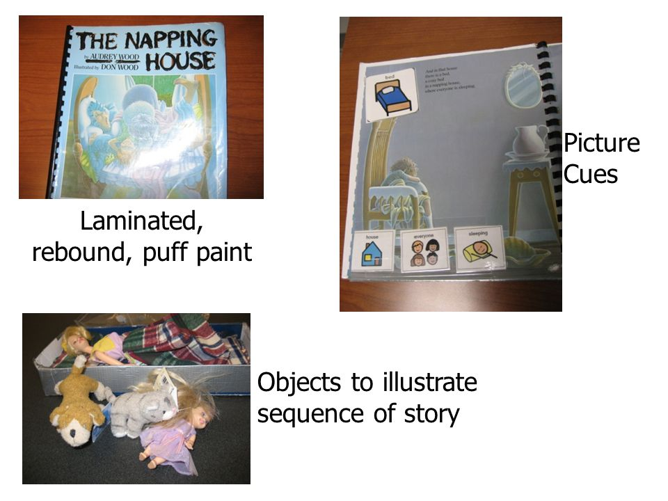Laminated, rebound, puff paint Picture Cues Objects to illustrate sequence of story