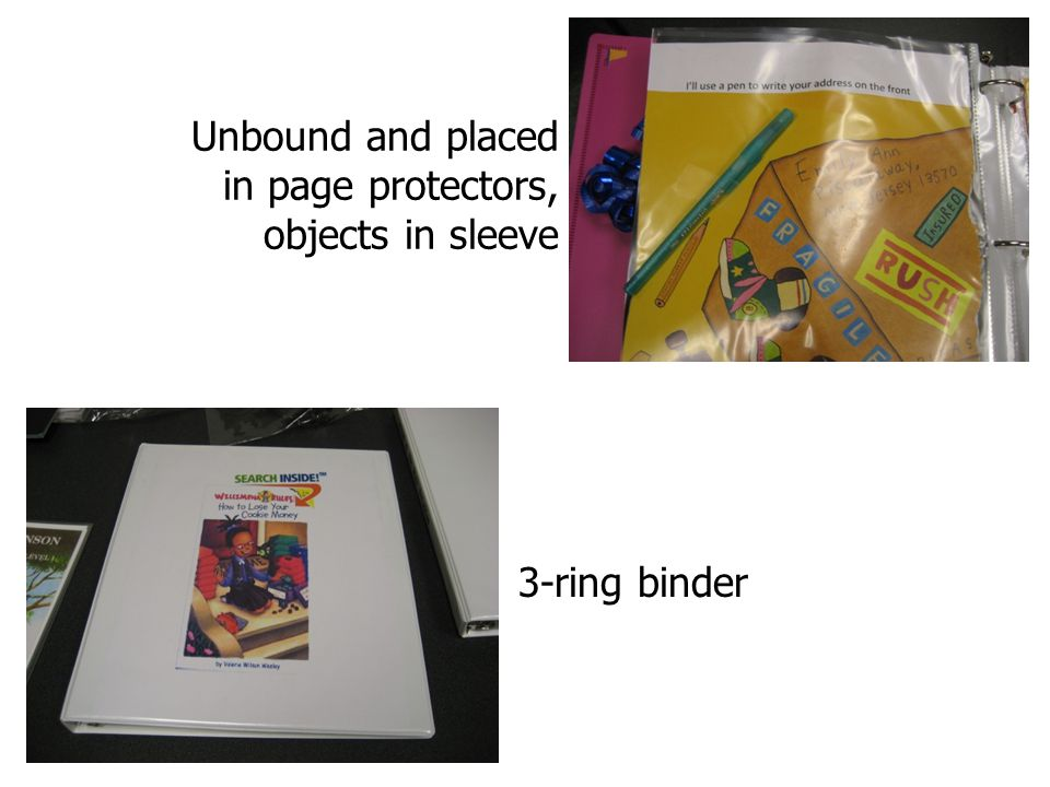 Unbound and placed in page protectors, objects in sleeve 3-ring binder