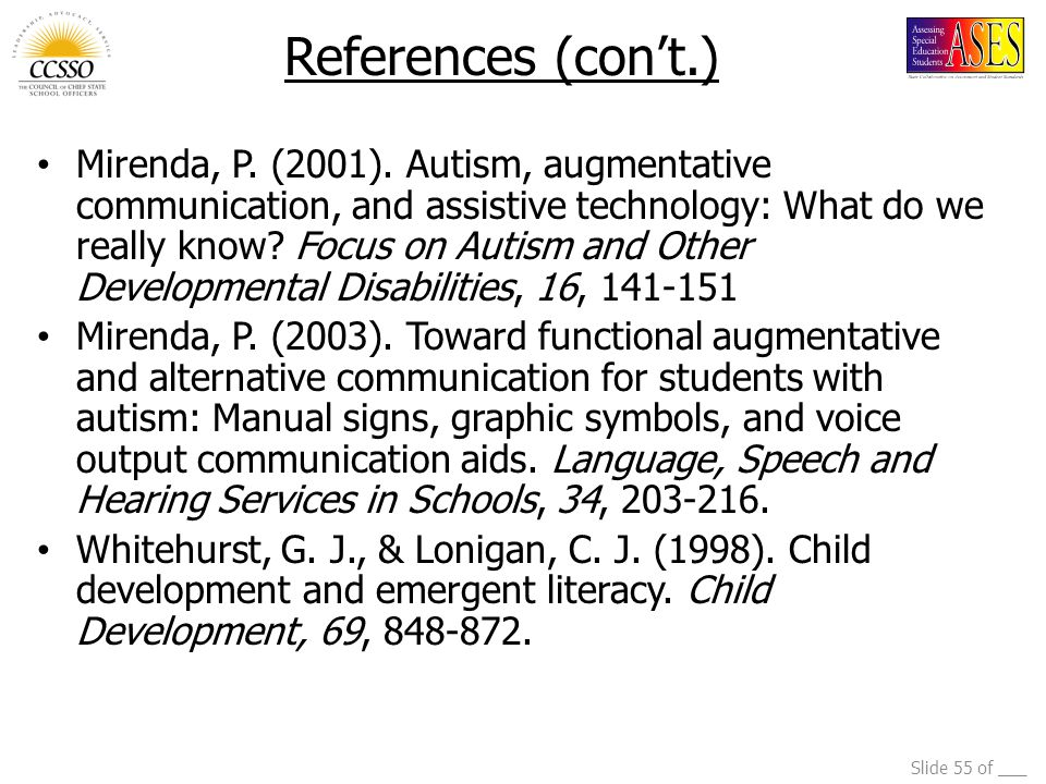 Slide 55 of ___ Mirenda, P. (2001). Autism, augmentative communication, and assistive technology: What do we really know? Focus on Autism and Other De