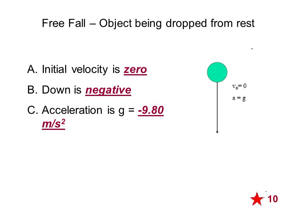 Free Fall – Object being dropped from rest A.Initial velocity is zero B.Down is negative C.Acceleration is g = -9.80 m/s 2 10