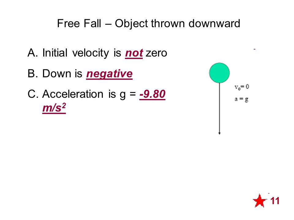 Free Fall – Object thrown downward A.Initial velocity is not zero B.Down is negative C.Acceleration is g = -9.80 m/s 2 11