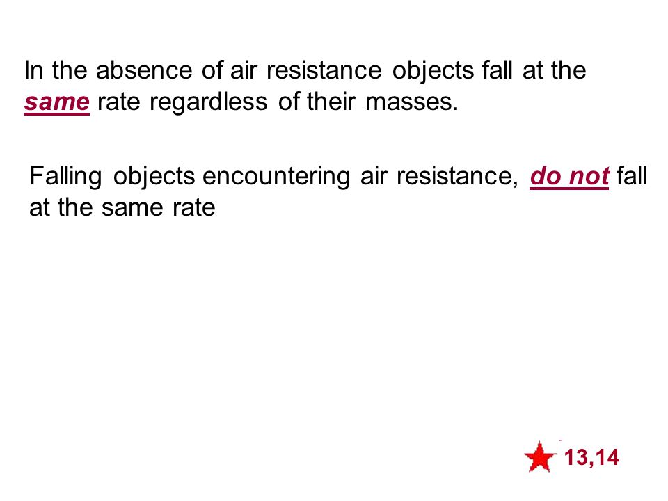 In the absence of air resistance objects fall at the same rate regardless of their masses. 13,14 Falling objects encountering air resistance, do not f