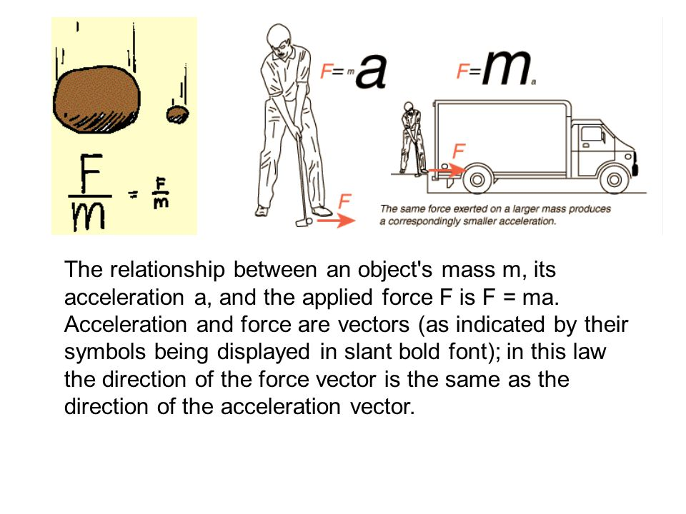 The relationship between an object's mass m, its acceleration a, and the applied force F is F = ma. Acceleration and force are vectors (as indicated b