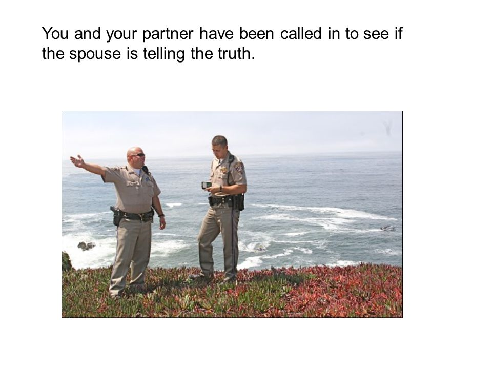 You and your partner have been called in to see if the spouse is telling the truth.