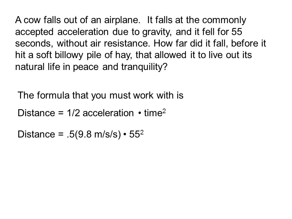 A cow falls out of an airplane. It falls at the commonly accepted acceleration due to gravity, and it fell for 55 seconds, without air resistance. How