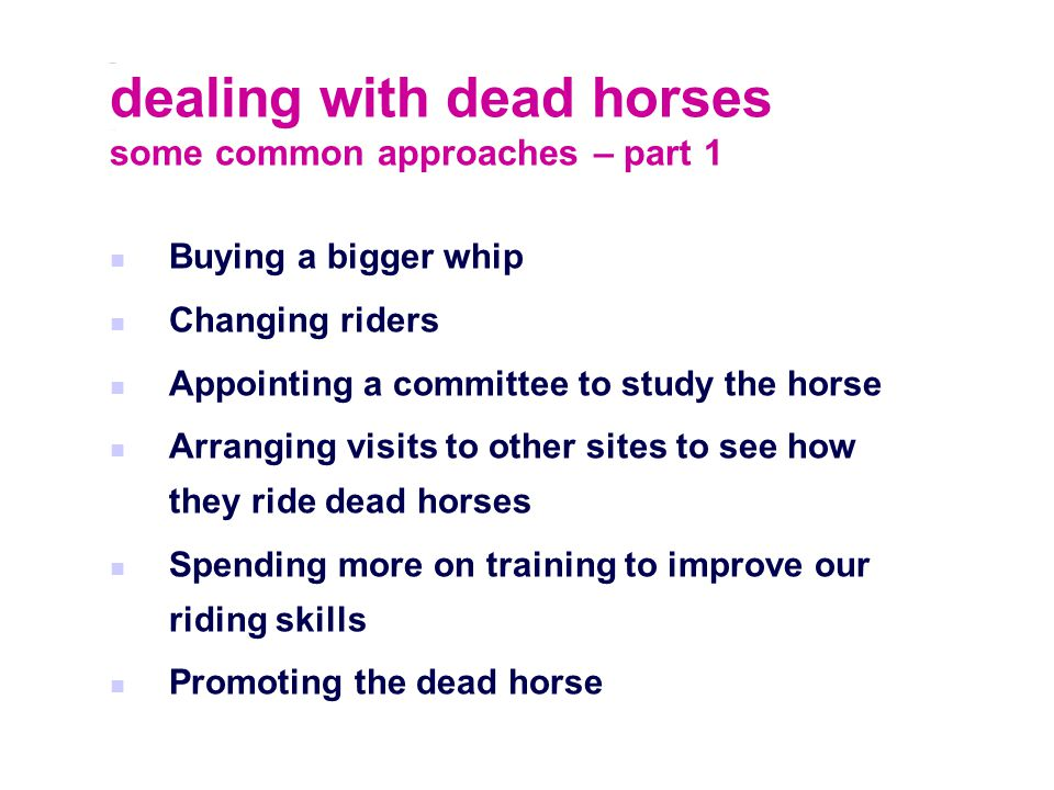 dealing with dead horses some common approaches – part 1 Buying a bigger whip Changing riders Appointing a committee to study the horse Arranging visits to other sites to see how they ride dead horses Spending more on training to improve our riding skills Promoting the dead horse