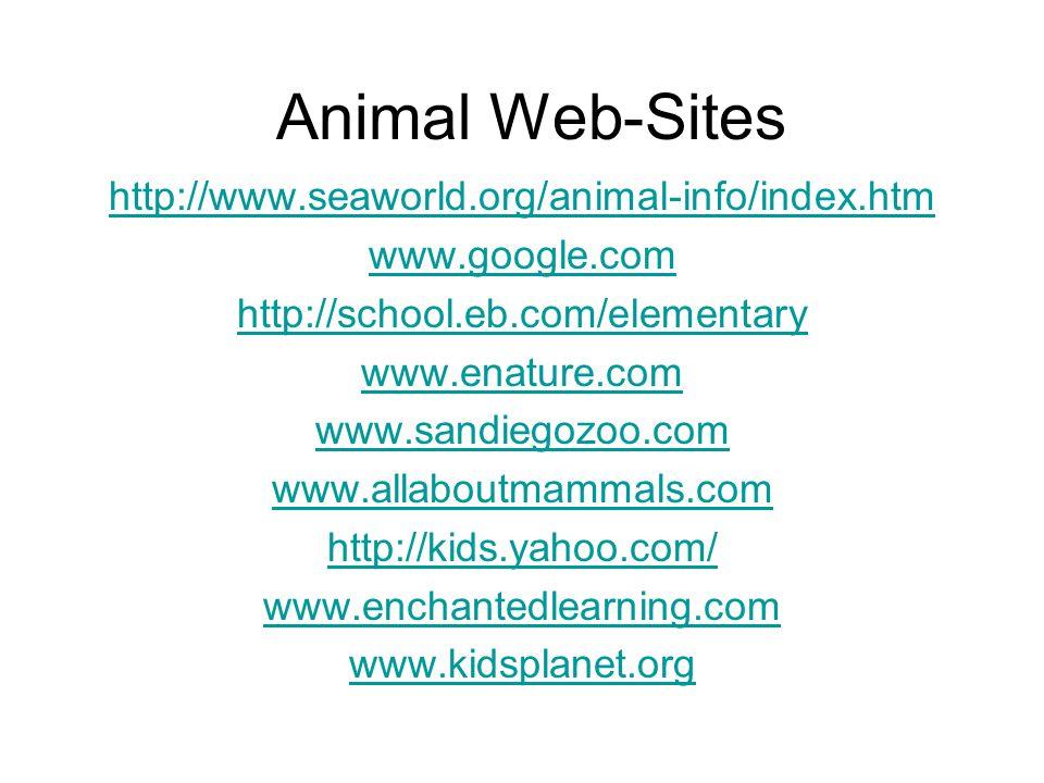 Animal Web-Sites http://www.seaworld.org/animal-info/index.htm www.google.com http://school.eb.com/elementary www.enature.com www.sandiegozoo.com www.