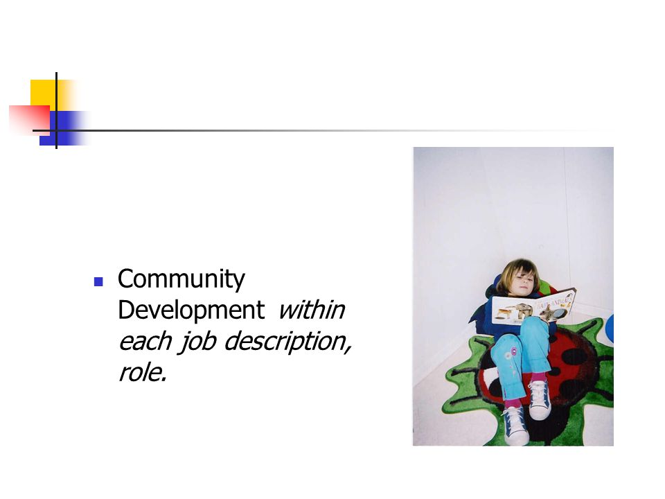 Community Development within each job description, role.