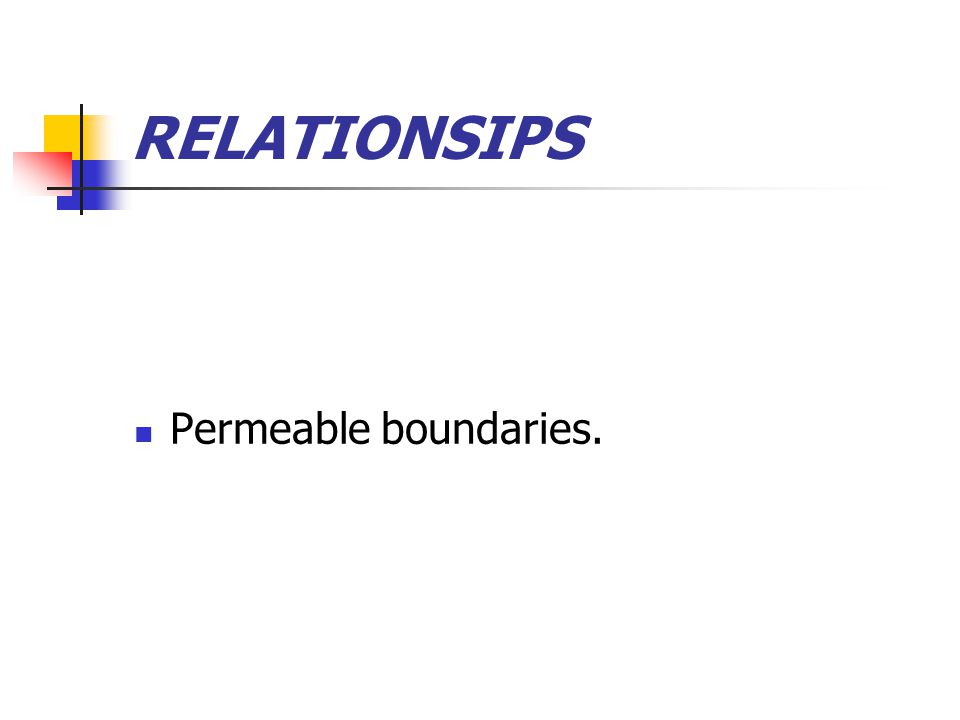 RELATIONSIPS Permeable boundaries.