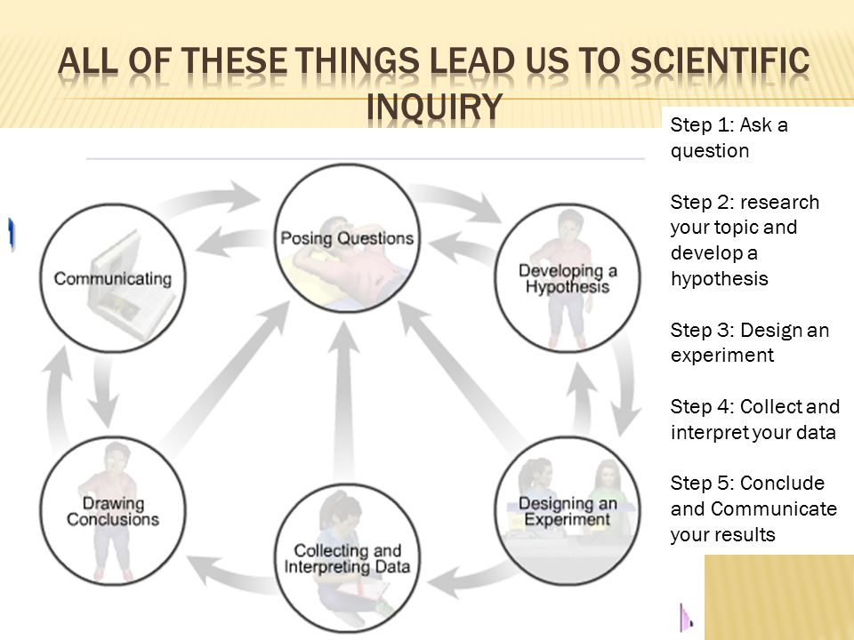 Step 1: Ask a question Step 2: research your topic and develop a hypothesis Step 3: Design an experiment Step 4: Collect and interpret your data Step 5: Conclude and Communicate your results