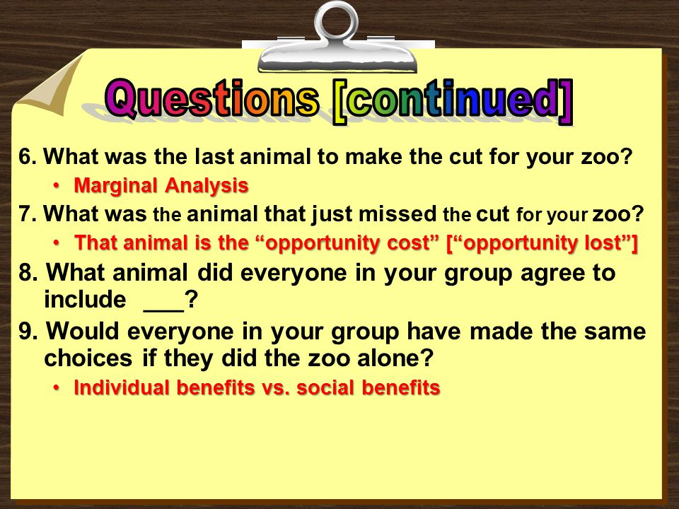 6.What was the last animal to make the cut for your zoo.
