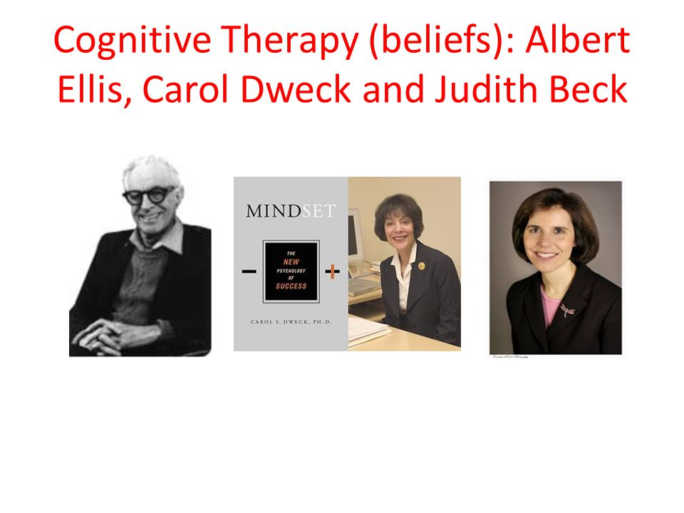 Cognitive Therapy (beliefs): Albert Ellis, Carol Dweck and Judith Beck
