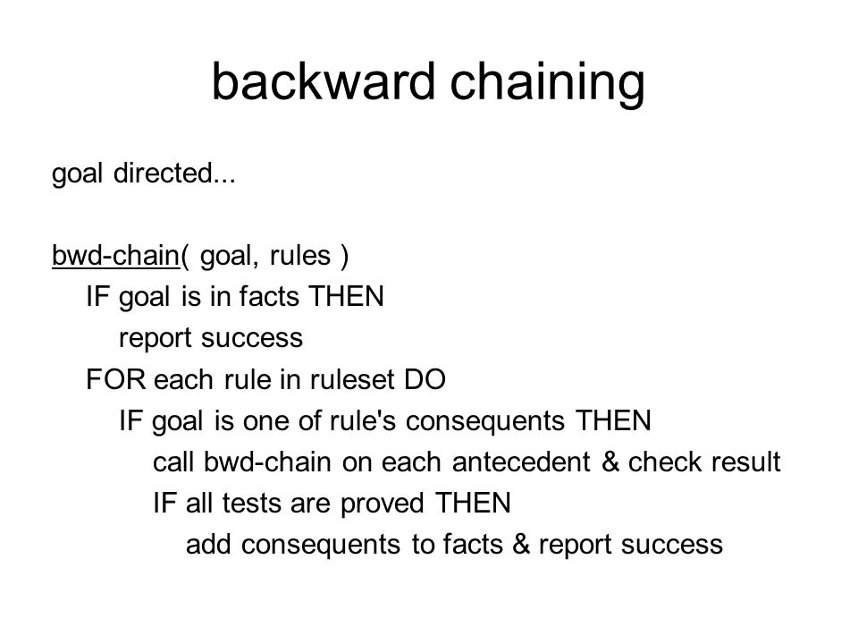 backward chaining goal directed...