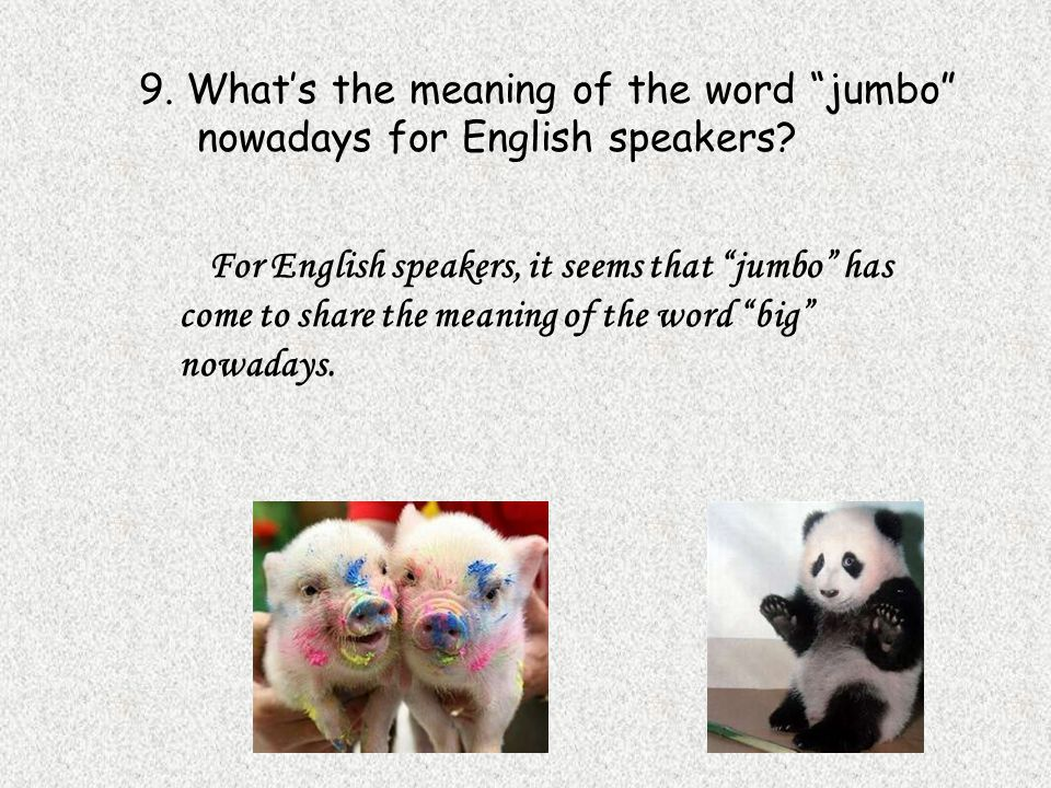 9. What's the meaning of the word jumbo nowadays for English speakers.
