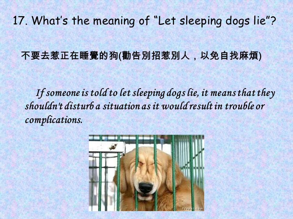 17. What's the meaning of Let sleeping dogs lie .