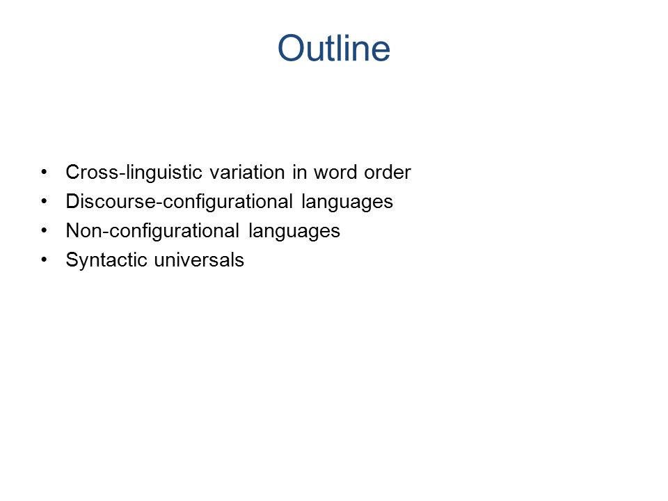 Recap: Word order in English The subject is the phrase immediately preceding the verb and its complements.