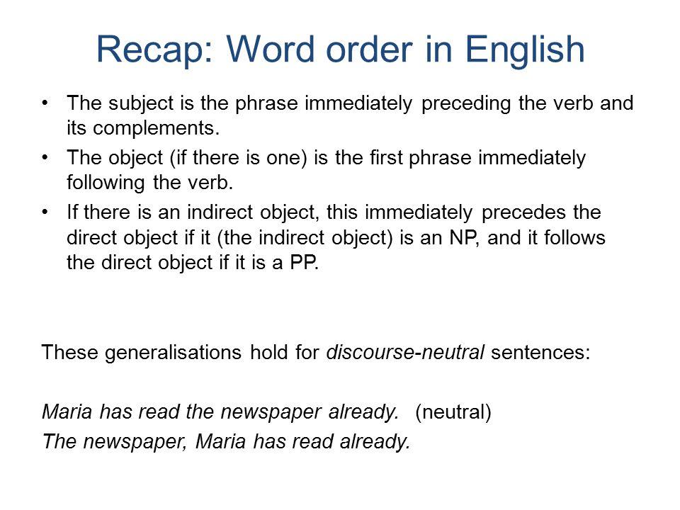 SVO, SOV, VSO English is a Subject – Verb – Object (SVO) language.