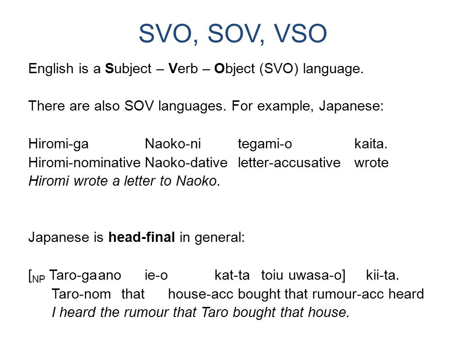SVO, SOV, VSO (cont'd) VSO languages exist as well: Sgrìobhadh iad anleabhar.(Scottish Gaelic) write-conditionaltheythebook They would write the book.