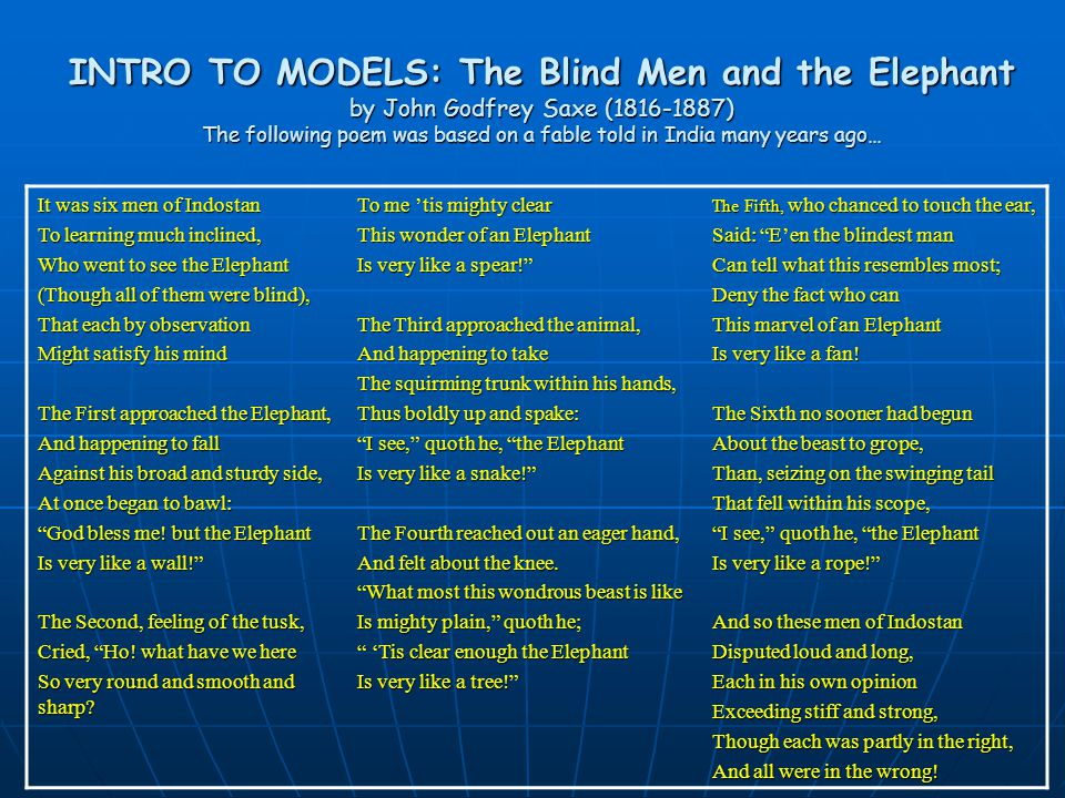INTRO TO MODELS: The Blind Men and the Elephant by John Godfrey Saxe (1816-1887) The following poem was based on a fable told in India many years ago… It was six men of Indostan To learning much inclined, Who went to see the Elephant (Though all of them were blind), That each by observation Might satisfy his mind The First approached the Elephant, And happening to fall Against his broad and sturdy side, At once began to bawl: God bless me.