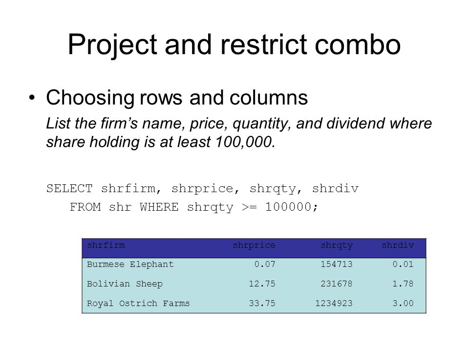 Project and restrict combo Choosing rows and columns List the firm's name, price, quantity, and dividend where share holding is at least 100,000. SELE