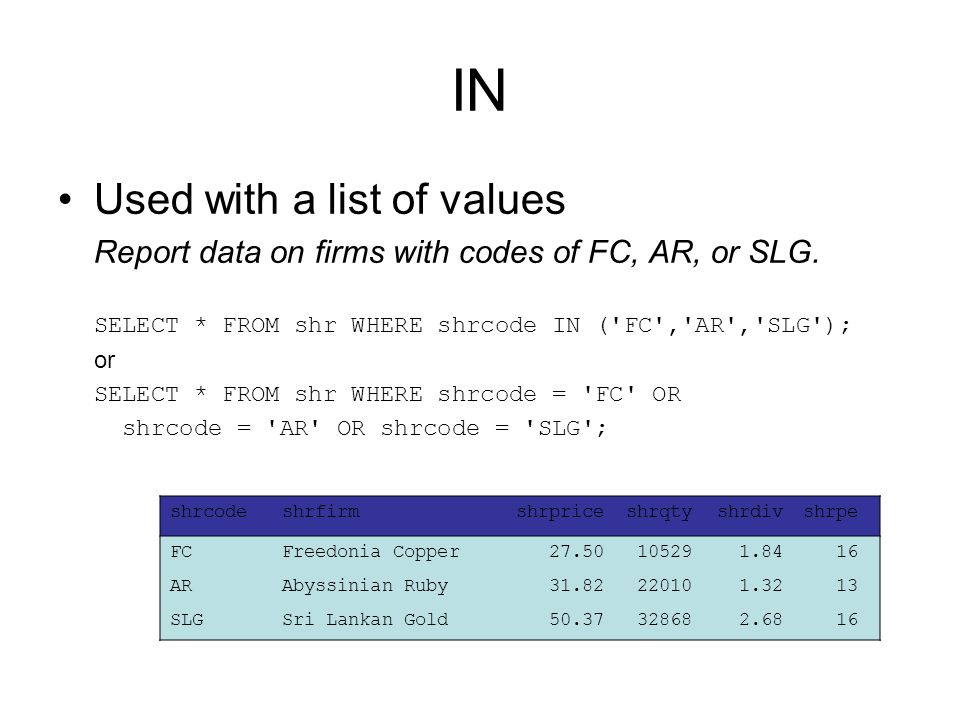 IN Used with a list of values Report data on firms with codes of FC, AR, or SLG.