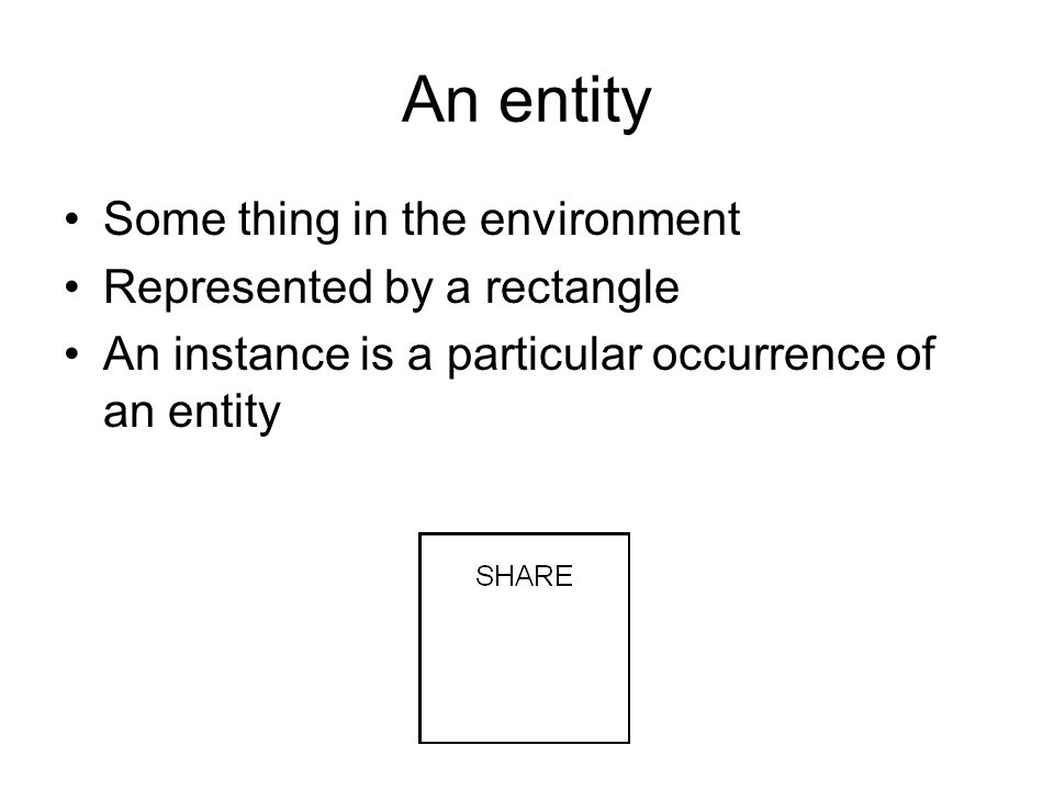 An entity Some thing in the environment Represented by a rectangle An instance is a particular occurrence of an entity