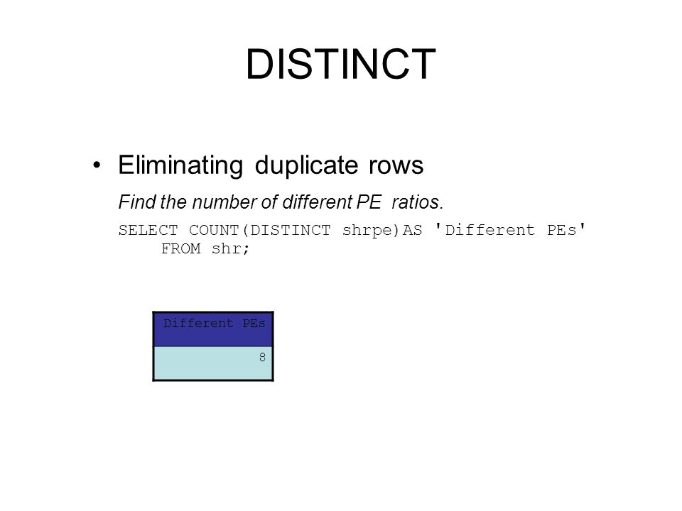 DISTINCT Eliminating duplicate rows Find the number of different PE ratios. SELECT COUNT(DISTINCT shrpe)AS ' Different PEs ' FROM shr; Different PEs 8