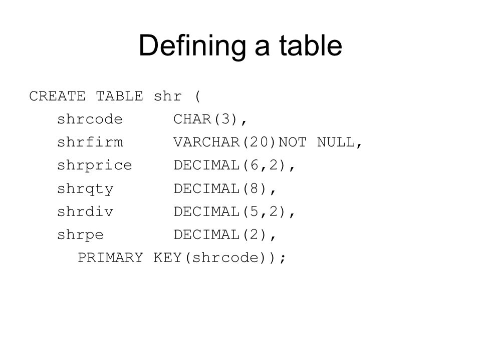 Defining a table