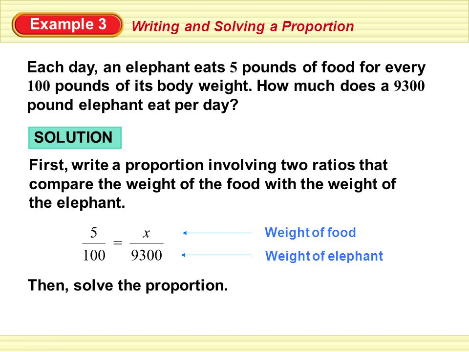 Example 3 Each day, an elephant eats 5 pounds of food for every 100 pounds of its body weight.